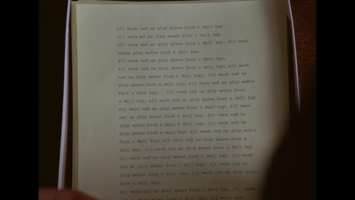 """All work and no play makes Jack a dull boy, """"All work and no play makes Jack a dull boy"""" from the Shining movie — Visual analysis of the typewriter scene manuscript., Damien ELLIOTT"""